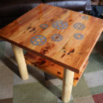 Inlaid Bicycle Cogs- Barnwood and Lodgepole End Table