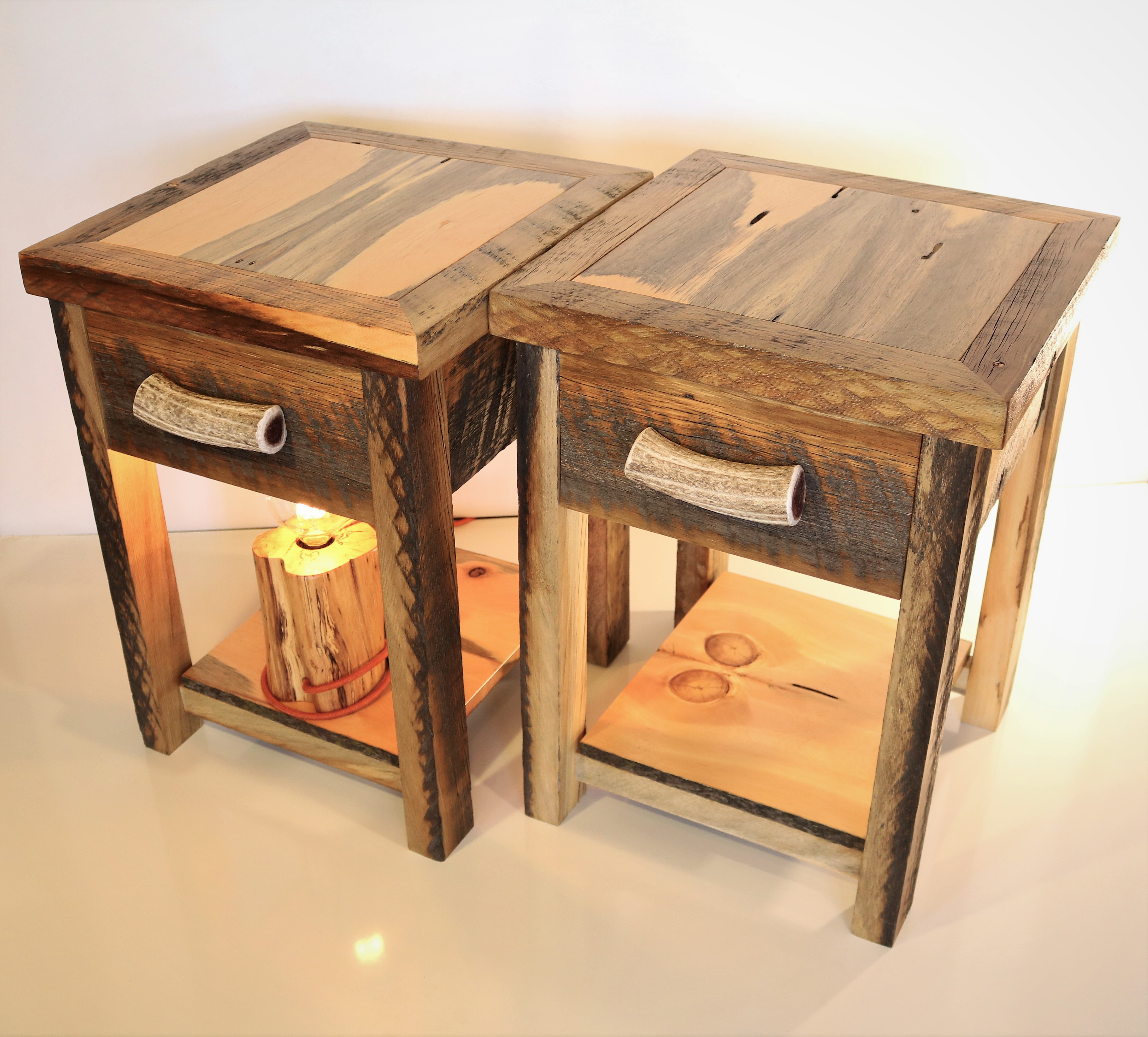 Nightstands- Barnwood and Blue-stained Pine