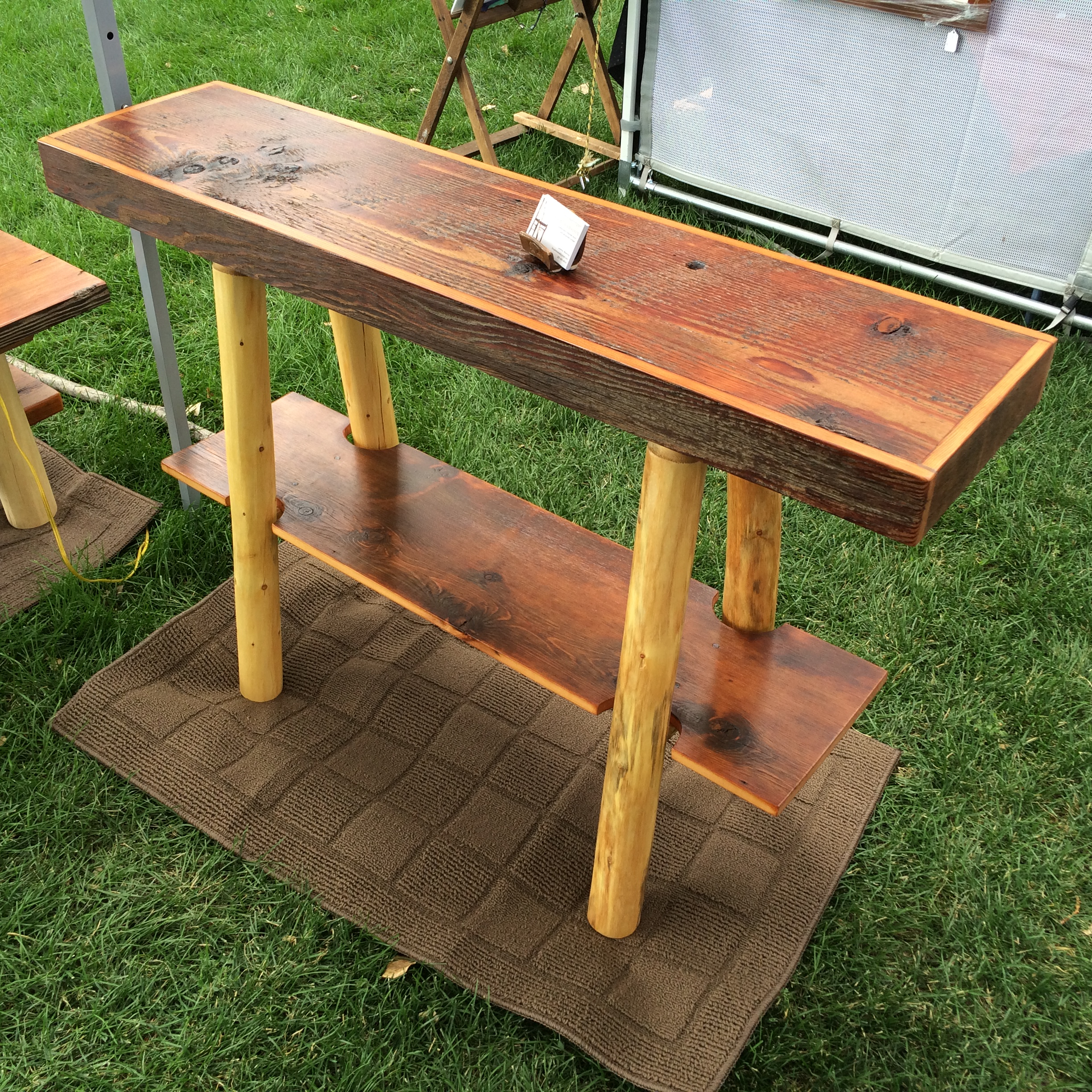 Sofa Table- Iowa Barnwood and Wyoming Lodgepole Pine Legs