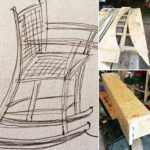 A preliminary sketch of a rocking chair is shown, along with a bending form and a box used for steam-bending green wood.
