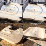 Collage of four photos. Stepwise progression of sculpting a contoured wooden seat from a thick block of wood.