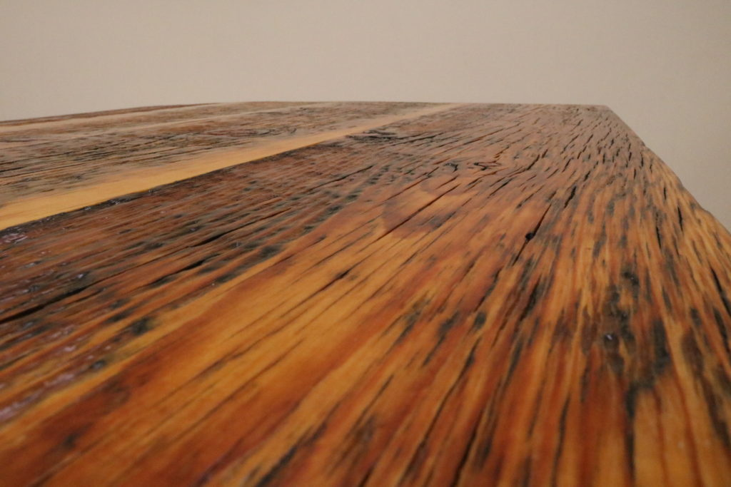 Barnwood Cafe Table, Detail View of Wood Grain.