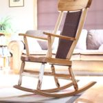 Willow rocking chair with walnut accents and Shaker tape backrest. Bent laminate rockers of walnut, cherry and maple.