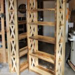 Matching bookcases entirely from reclaimed Wyoming barnwood.