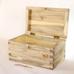 "Custom-built for newlyweds. Blue-stained pine, hand-cut dovetails, mortised lock. 14"" long x 8"" tall x 8"" deep."