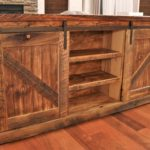 "Barnwood Buffet with Sliding Barn Doors. Authentic reclaimed Wyoming wood. 6' long x 3' tall x 15"" deep."