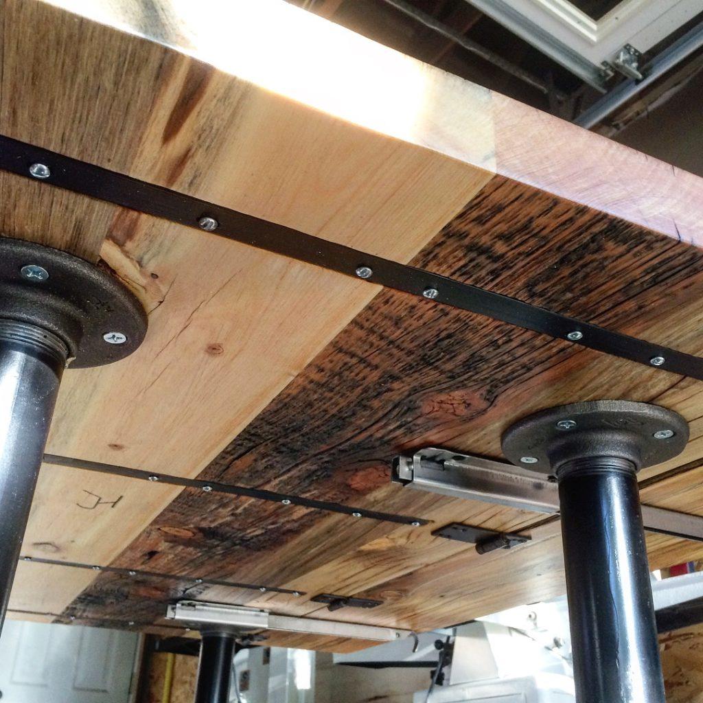 Rustic industrial drop-leaf table