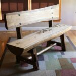Modern rustic bench. Slab lodgepole pine seat and back. $1200